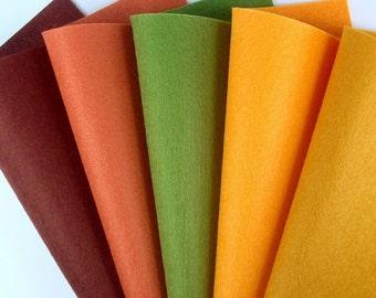 5 Colors Felt Set - Autumn Leaves - 20cm x 20cm per sheet