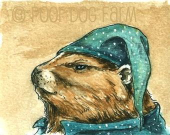 Ground Hog in PJs - Original ACEO Painting