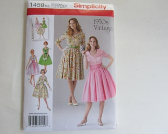 Simplicity 1459 Misses' Full Skirted Dresses 1950s Inspired Vintage Uncut Sewing Pattern Size 8, 10, 12,14, 16, 1950s Retro Dress Pattern