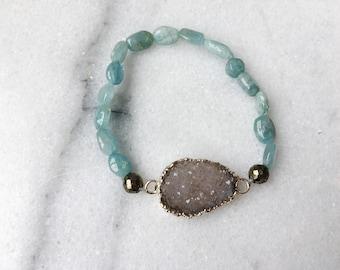 Quartz Druzy Stretch Bracelet with Amazonite and Pyrite