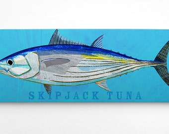 Fish Gifts for Him, Skipjack Tuna Art Block, Wife to Husband Gift, Saltwater Fish Art, Art on Wood, Gifts, for Dad Gifts from Daughter