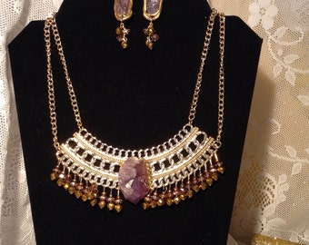 Amethyst  beaded collar and earring set