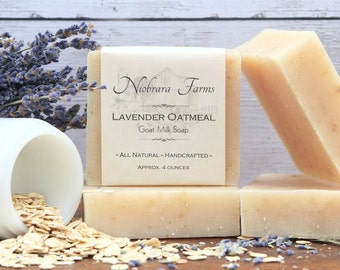 Natural Goat Milk Soap - All Natural Lavender Oatmeal Soap - Homemade Soap - Moisturizing Soap - Exfoliating - Handcrafted Lavendar Soap