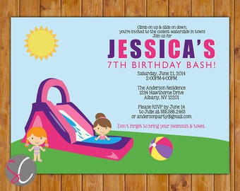 Waterslide Birthday Party Invite Girl's Pink Purple Pool Party Invitation Water Slide Summer Fun Printable 5x7 Birthday Invitation (55-2)