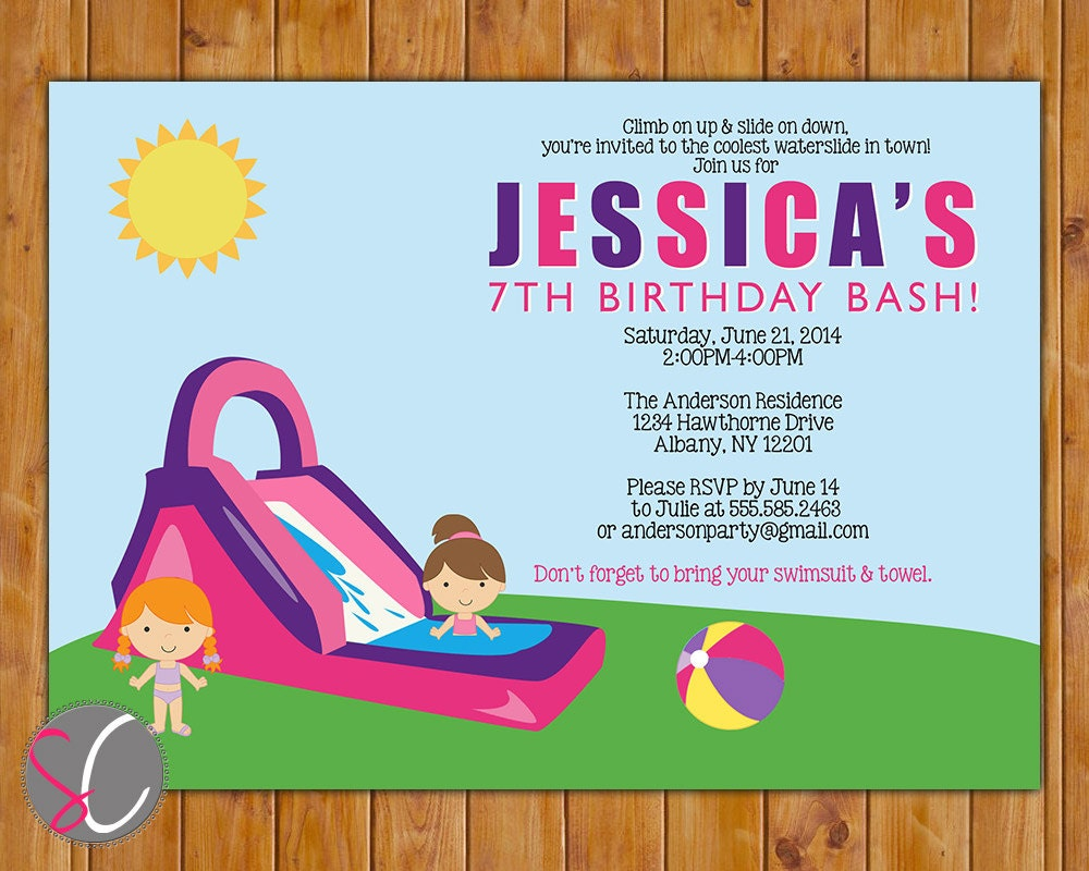 Waterslide birthday party invite girls pink purple pool zoom filmwisefo Gallery