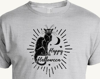 Happy Halloween T-shirt, Chat Noir, Black Cat, Trick or Treat shirt
