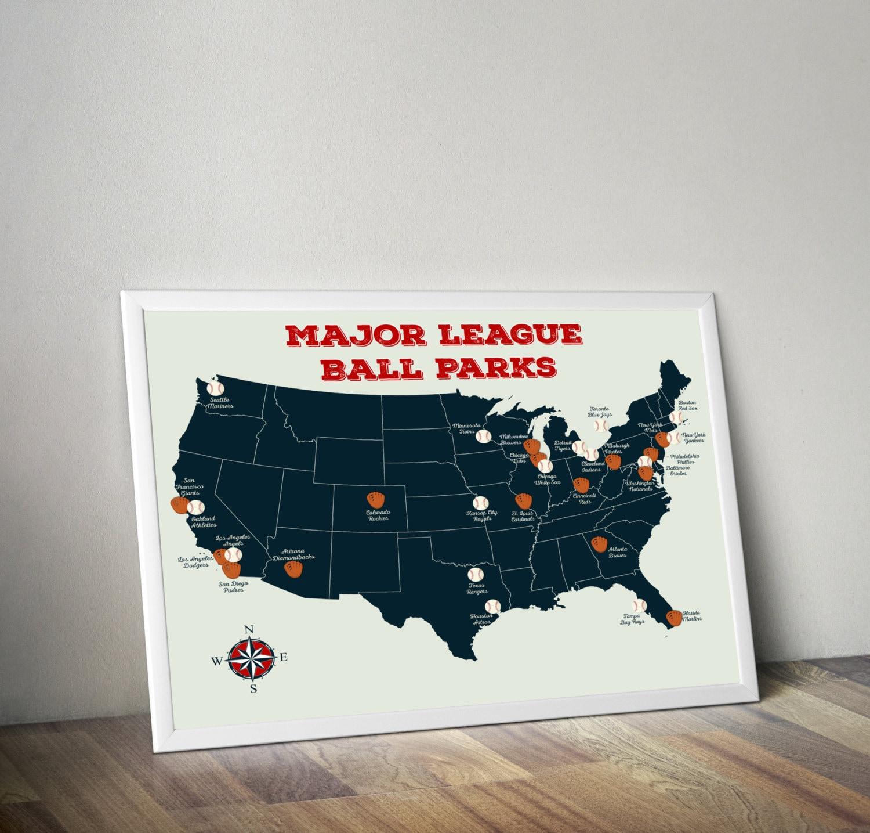 Baseball Stadium Map Major League Ball Parks Map US Map - Us map of baseball stadiums