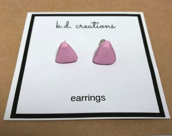 Triangle Stud Earrings - Handmade from Polymer Clay by k.d. creations