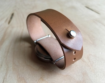 Shell Cordovan Whiskey Tan Pass Through watch strap , Timex Weekender 16mm 18mm 20mm 22mm 24mm, button stud
