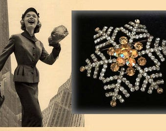 Spectaculor Large Vintage Silver Tone Rhinestone Star Shaped Brooch with Clear and Amber Rhinestones