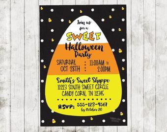 Candy Corn Invite, Kids Halloween Party Invite, Sweet Halloween Party Invitation, Candy Corn Halloween Party, Halloween Birthday Party