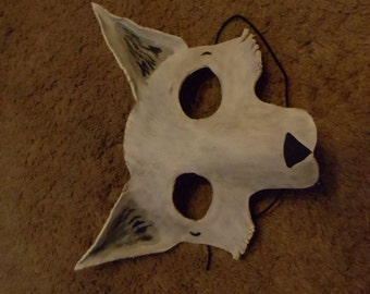 Snow Fox/White Wolf Leather Mask