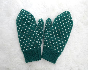 Green Thrummed Mittens Adult Small, Adult Medium 100% Wool