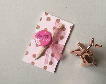 Teacher gift, Notepad badge, pencil