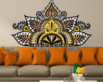 Half Mandala Wall Decal Yoga Studio Decor Full Color Sticker Art Headboard Vinyl Bohemian Bedroom MA394