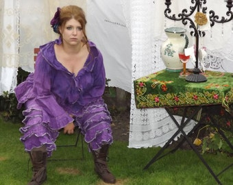 Violet Linen Pants Trousers Bloomers Pantaloons OSFA Plus Regular size prairie Pirate victorian steampunk wench southern gothic RitaNoTiara