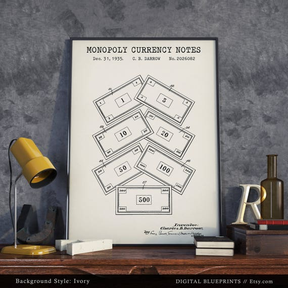Monopoly currency patent print digital download vintage monopoly currency patent print digital download vintage board game monopoly poster printable monopoly enthusiasts gift blueprint art malvernweather Image collections