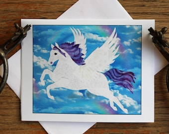 Whimsy, the Winged White Horse, flying thorough Rainbow filled Skies - Blank Photo Note Cards in sets of 4 or 8 cards