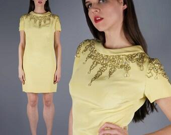 Mod Jeweled Mini Dress Yellow Beaded Shoulders Mini Dress 60s Dress