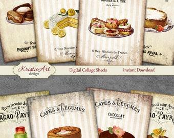 75% OFF SALE Sweets - Digital Collage Sheet Digital Cards C098 Printable Download Image Tags Digital Image Atc Cards ACEO Vintage Sweets