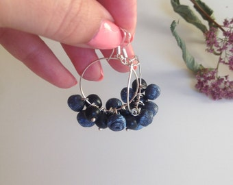 earrings with blueberries/ berry earrings/ berry blueberries/jewelry made of polymer clay /berries /handmade earrings