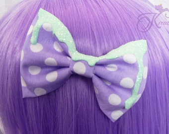 melting Glitter pastel bow (mint)