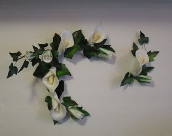 calla lily rose bud ivy cake topper crown halo corsage bridal wedding sugar flowers edible mothers day