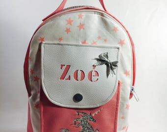 Backpack nursery pink and silver unicorn personalized custom p' Lil geniuses.