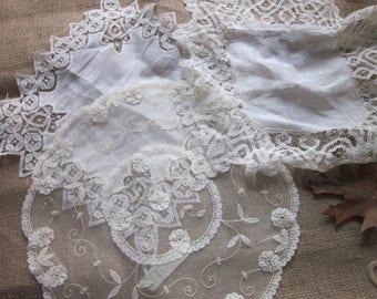 Vintage BEAUTIFUL Handkerchiefs ~ Doily Lot of 3 Free Shipping