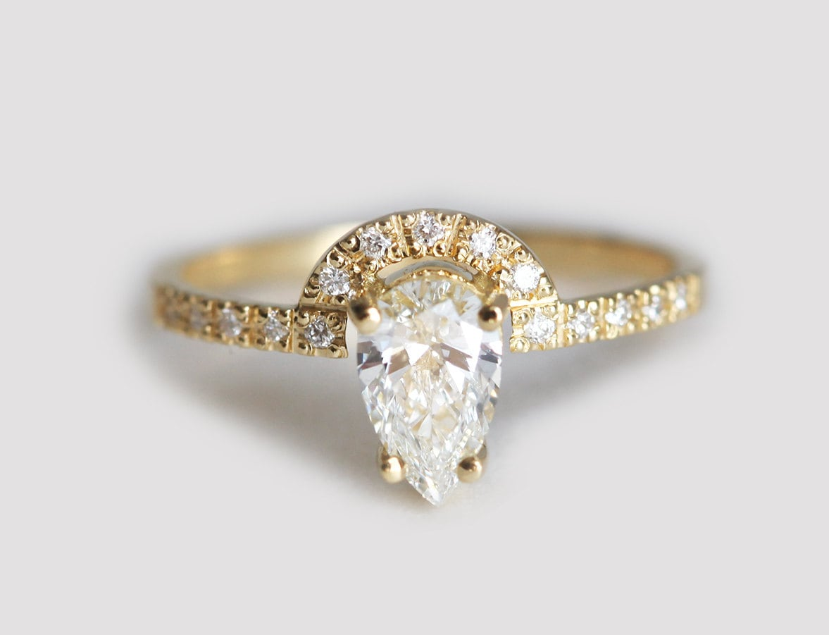 decorative pear ring engagement white pin rings band gold diamond halo