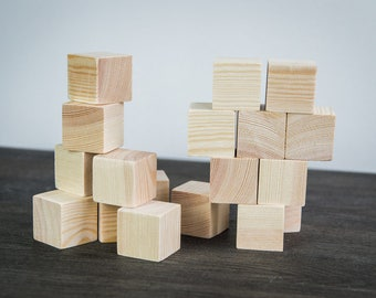60 pieces of Wooden cubes. Kid toys. Wood blocks. Available costum order. unfinished wood blocks. Solid Wood Blocks. Natural Wood Blocks