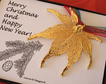 Gold Maple Leaf Ornament, Real Leaf Japanese Maple, Maple Leaf Extra Large, Ornament Gift, Christmas Card, ORNA46
