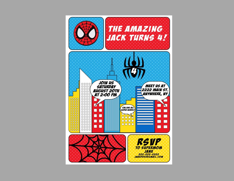Spiderman Birthday Party Invitation Spiderman Party Theme