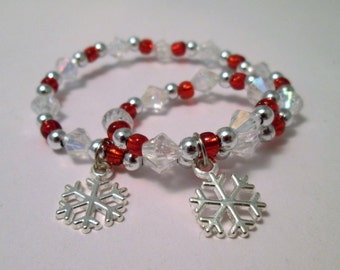 "Snowflake little girl and doll jewelry matching Christmas bracelets 18""doll accessory"