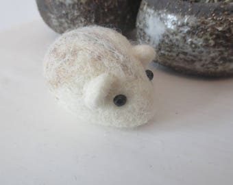 Felted DWARF HAMSTER in white ornament keepsake small Mother's Day gift stocking stuffer party favor