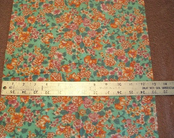 Pink Orange Green Floral Calico Fabric - 1/3 Yard remnant by Concord Fabric Inc