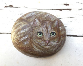 Hand painted Tabby Cat Painting on a rock