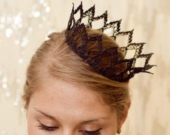 "Dark Princess Fairy Tale Black Lace Crown - ""The Princess Crown"" - gothic, halloween, noir"
