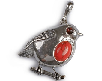 Henryka Large Coral and Silver Rockin' Robin Necklace
