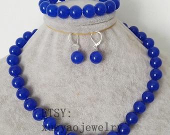 jade set- 10 mm/12 mm blue jade necklace stretch bracelet & earrings set