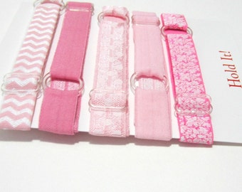 Set of 5 - Pinks Adjustable Elastic Headband, Hair Band, baby Headband, Toddler Headband, Adult Headband, Sport Headband, Running Headband