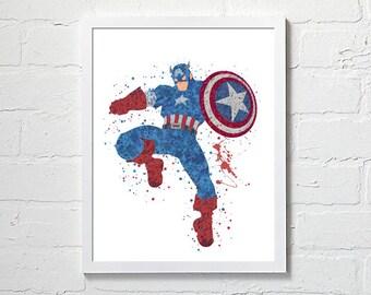 Captain America wall art, Captain America watercolor Captain America printables Captain America art print wallpaper Marvel art avengers art