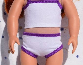 18 inch doll panties and cami in a white stretch knit with purple elastic trim