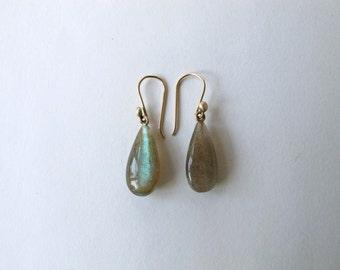 Labrodorite drop earrings solid 14k gold hoop wires blue green dangling iridescent statement earrings