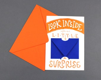 Look Inside for a Little Surprise - Letterpress Gift Card or Money Holder