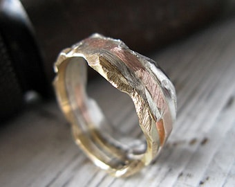 Rustic Mens Wedding Band Man Wedding Band Man Wedding Ring Unique Wedding Band Distressed Wedding Band Alternative Artisan Gold Silver Ring