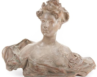 Paul Francois Berthoud  - Art Nouveau Terracotta Bust  of a Woman -circa 1895