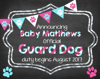 Guard Dog Pregnancy Announcement DIGITAL FILE, reveal, dog, cat, animal, online, download, printable, birth, baby