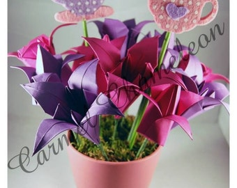 Paper Tulips & Lilies  ~Mothers Day Birthday Gift ~Potted bouquet ~Easter ~Spring ~ Origami Flowers ~Paper Flowers ~Artificial Flowers