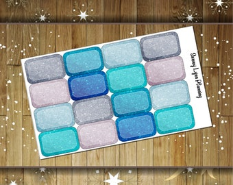 Winter Glitter Half Boxes for EC Vertical/Horizontal and Happy Planners.